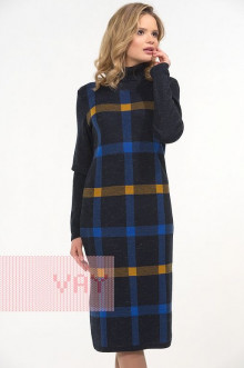 Платье женское 2281 Фемина (Синий меланж/звездный/горчица)