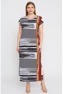 """Платье """"Лина"""" 5277 (Черный-оранжевый)"""