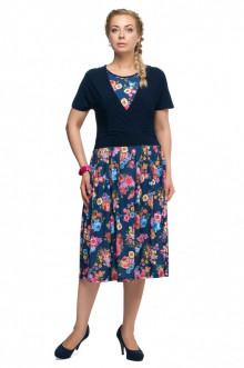 """Платье """"Олси"""" 1605046/2 ОЛСИ (Синий/цветы)"""